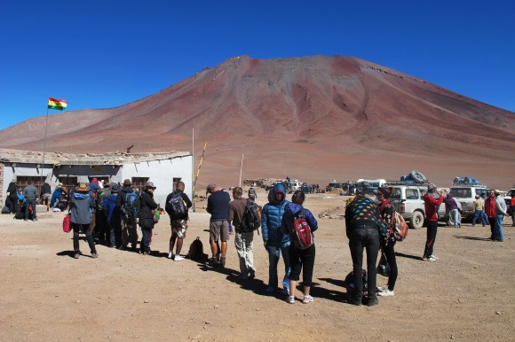Ironically enough Americans pay a hefty fee to visit Bolivia. South Africans also have to pay. Most people in this line just walked straight through. I had to visit border control in the next town a few days later so I could pay up. I spent a good few hours convincing them that I didn't have to pay the American price.