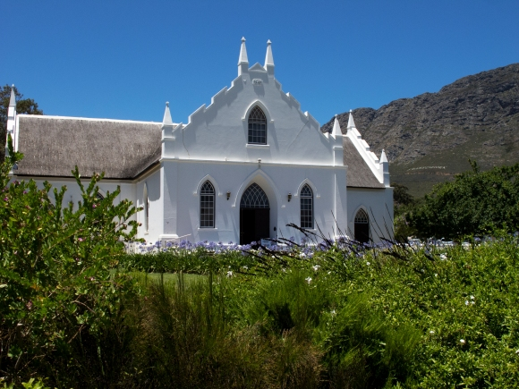 A dominant feature in the center of town- a church in true Cape Dutch style
