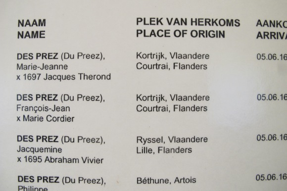 Part of the list of original French Huguenots in the Huguenot museum